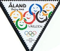El segell triangular dels Jocs Olímpics de Pequín.